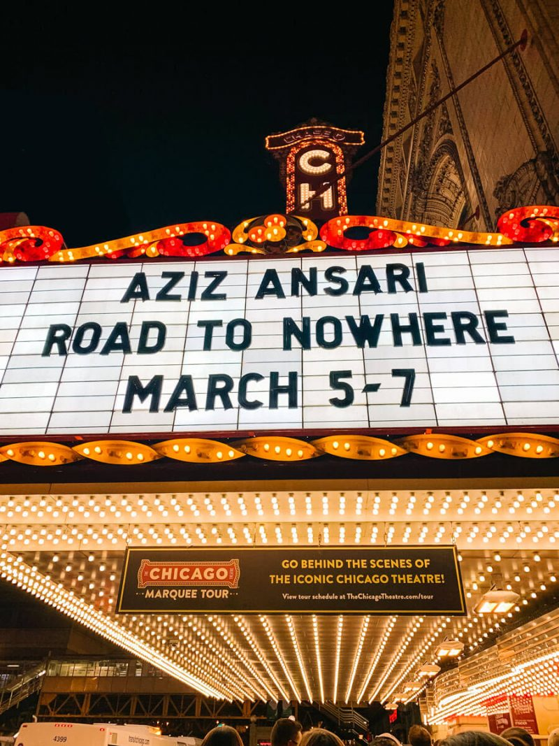 Aziz Ansari performed at The Chicago Theatre for Road to Nowhere Tour